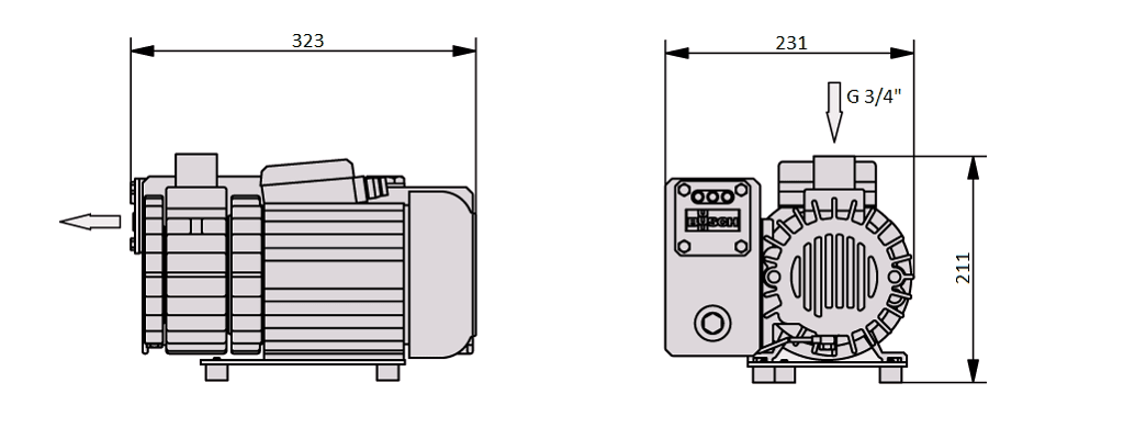 Габаритный чертеж насоса Busch R5 KB 0020 D