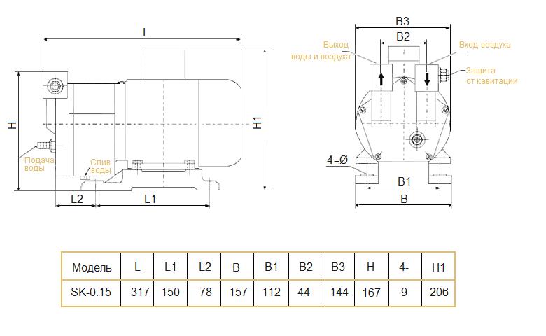 Габаритный чертеж насоса Yulo SK-0.15