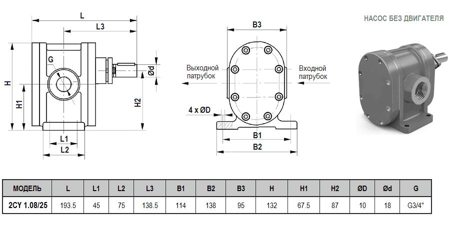 Габаритный чертеж насоса ZY Technology 2CY 1.08/25