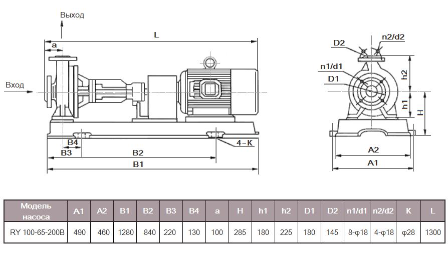 Габаритный чертеж насоса ZY Technology RY 100-65-200B