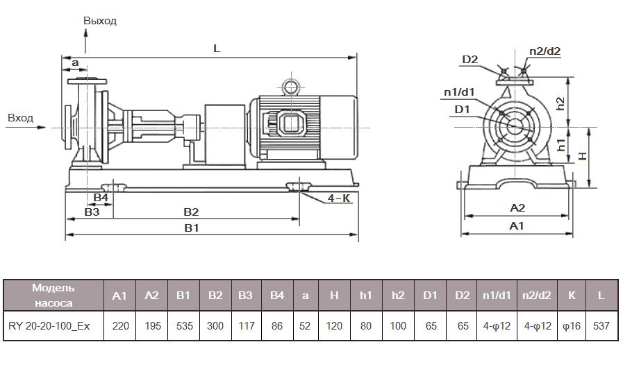 Габаритный чертеж насоса RY 20-20-100_Ex