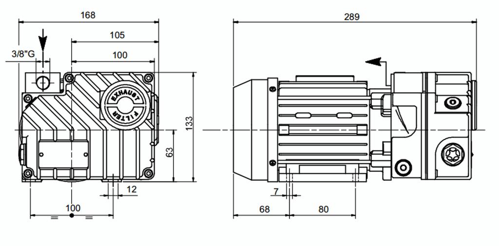 Габаритный чертеж масляного вакуумного насоса UVL 6