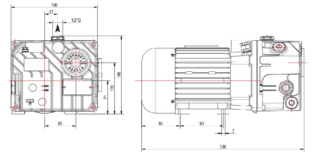 Габаритный чертеж масляного вакуумного насоса UVL 12