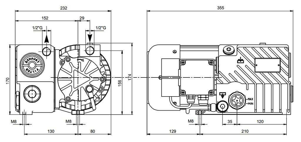 Габаритный чертеж масляного вакуумного насоса UVL 18