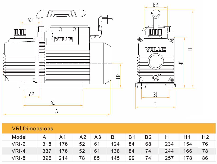 Габаритный чертеж вакуумного насоса Value VRI-2