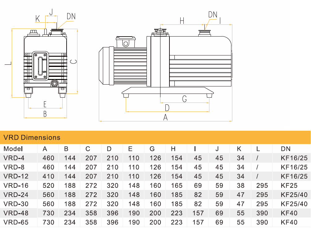 Габаритный чертеж вакуумного насоса Value VRD-24