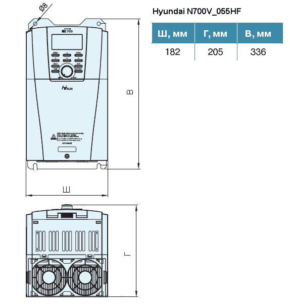 Габариты частотного преобразователя Hyundai N700V_055HF
