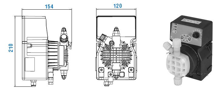 Габаритный чертеж насоса Etatron DLX MA/AD 01-15