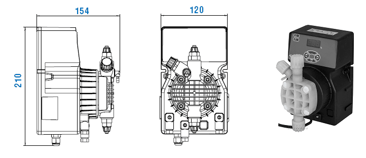 Габаритный чертеж насоса Etatron DLX MA/MB 01-15