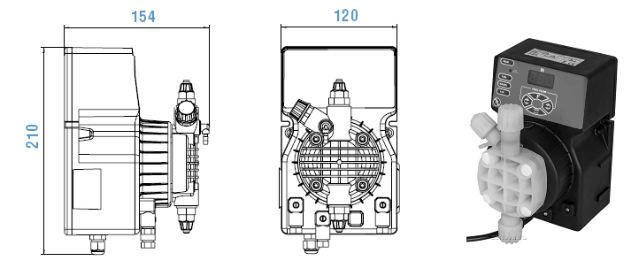 Габаритный чертеж насоса Etatron DLX VFT/MBB 01-15