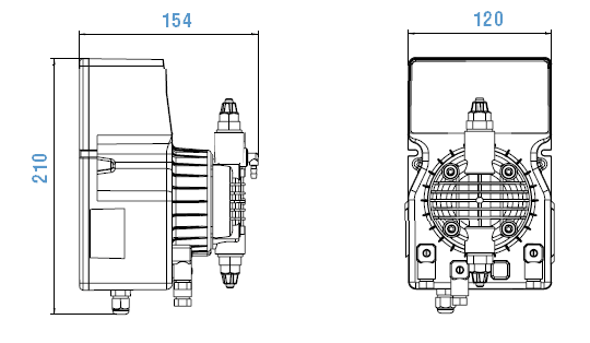 Габаритный чертеж насоса Etatron DLX MA/AD 02-20