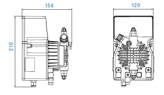 Габаритный чертеж насоса Etatron DLX PH-RX/MBB 05-07