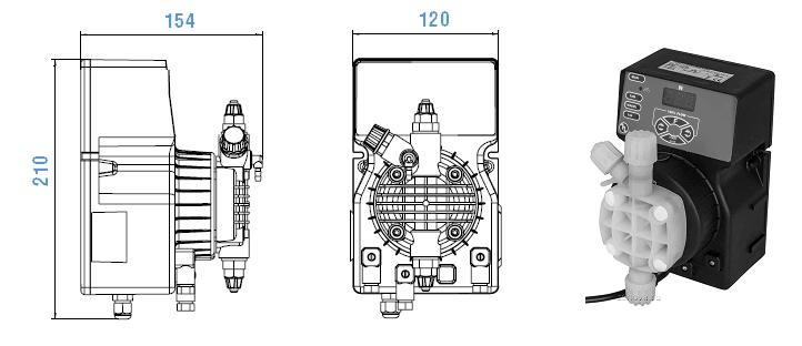 Габаритный чертеж насоса Etatron DLX VFT/MBB 08-10