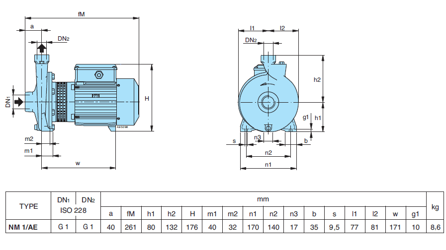 Габаритный чертеж насоса Calpeda NM 1/AE