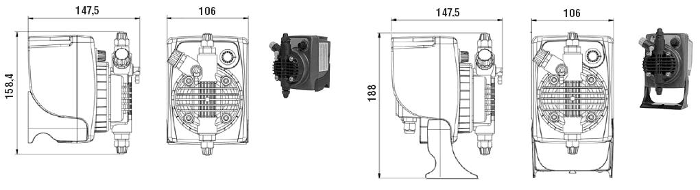 Габаритный чертеж насоса Etatron PKX MA/AL 01-05