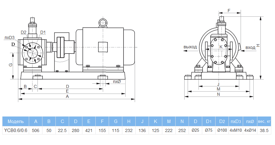 Габаритный чертеж насоса YCB0.6/0.6