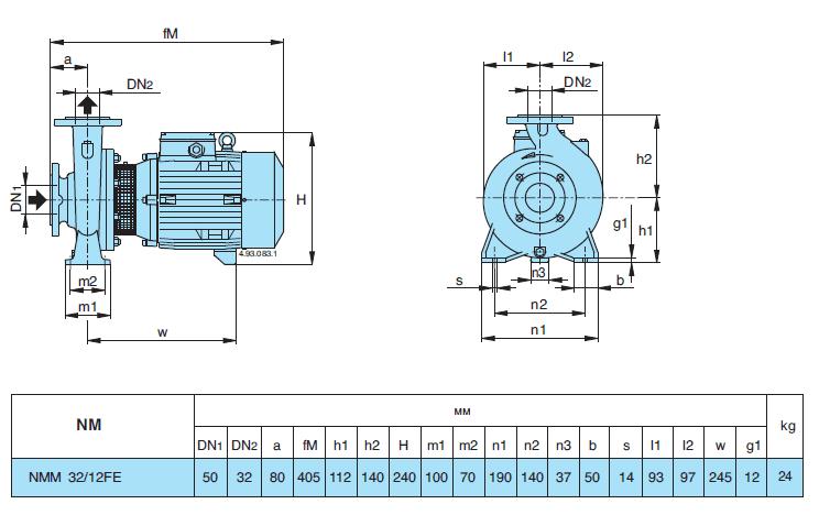 Габаритный чертеж насоса Calpeda NMM 32/12FE