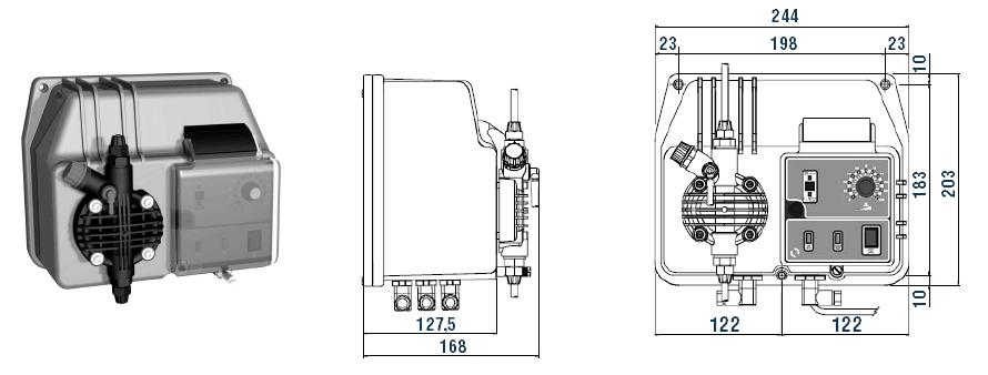 Габаритный чертеж насоса Etatron BT MA/AD 05-20