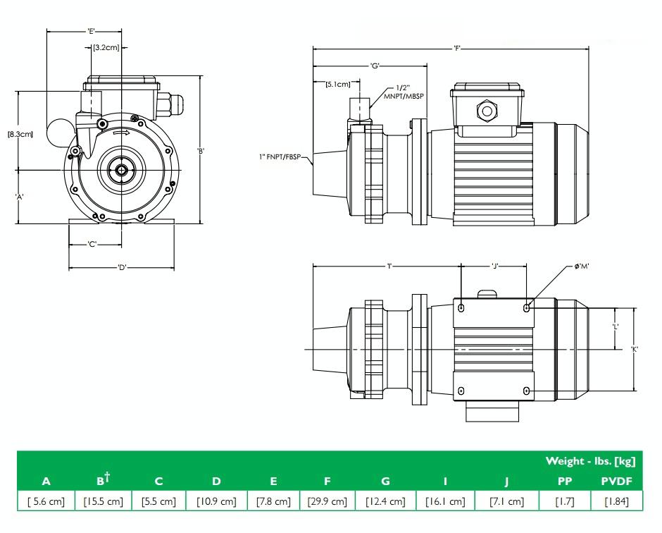 Габаритный чертеж насоса Finish Thompson DB3P-B с э/д 0.12/380В
