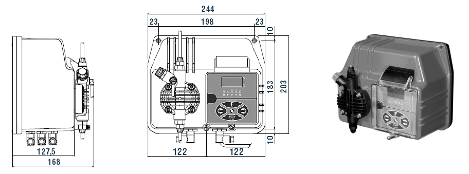 Габаритный чертеж насоса Etatron BT MA/M 05-20
