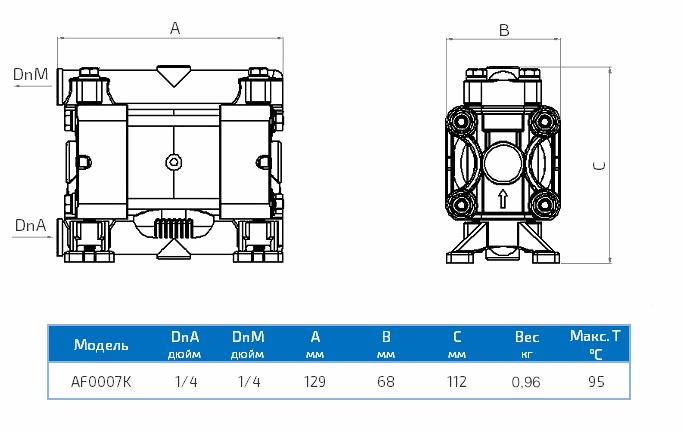 Габаритный чертеж насоса Duotek AF0007K