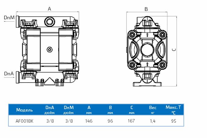 Габаритный чертеж насоса Duotek AF0018K