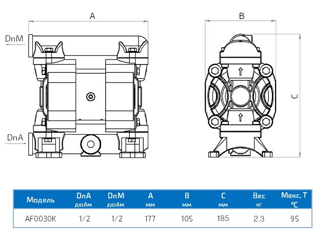 Габаритный чертеж насоса Duotek AF0030K