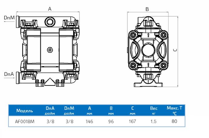 Габаритный чертеж насоса Duotek AF0018M