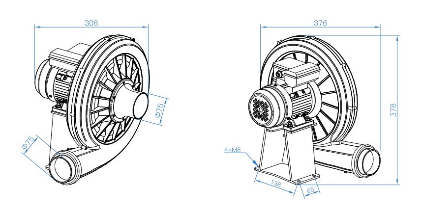 Габаритный чертеж вентилятора CRE-F2T-75