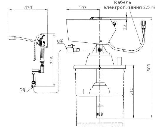 Габаритный чертеж насоса для смазки Yamada KPL-24