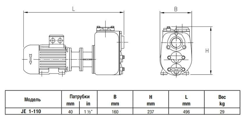 Габаритный чертеж насоса Varisco JE 1-110 G10 MT20