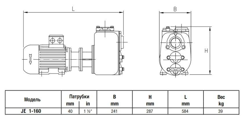 Габаритный чертеж насоса Varisco JE 1-160 G30 MT20