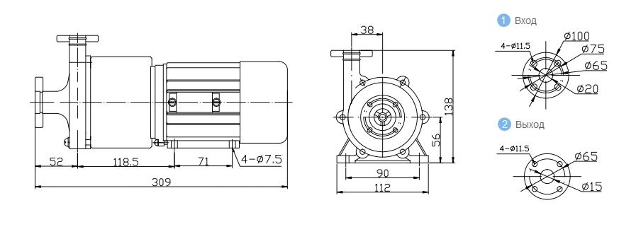 Габаритный чертеж насоса CQB 20-15-75-FEP-003-Fe
