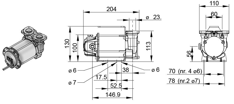 Габаритный чертеж насоса Piusi BY-PASS 3000 DC DC 24V/12V