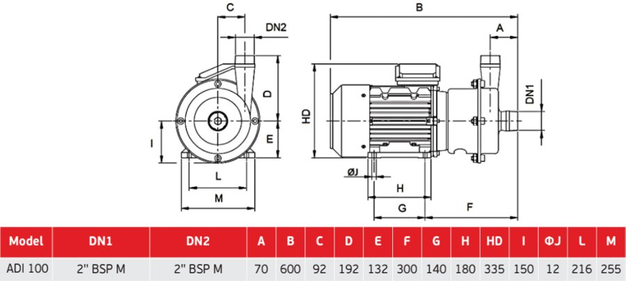 Габаритный чертеж центробежного пищевого насоса AlphaDynamic ADI 100