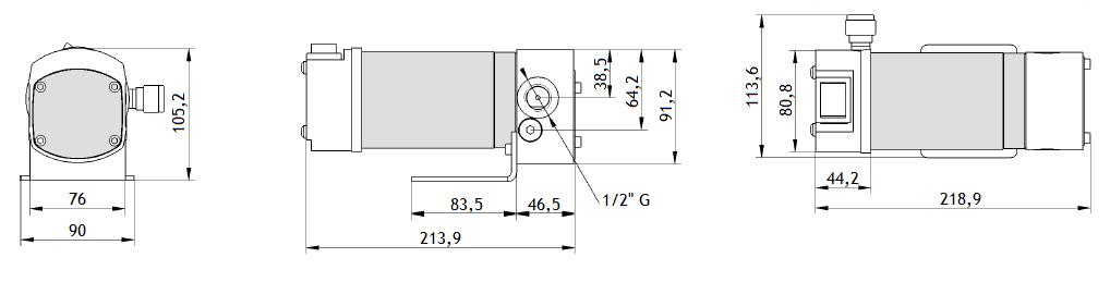 Габаритный чертеж насоса Piusi Viscomat DC 60/1 12V