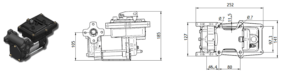 Габаритный чертеж насоса Piusi EX50 230V AC ATEX