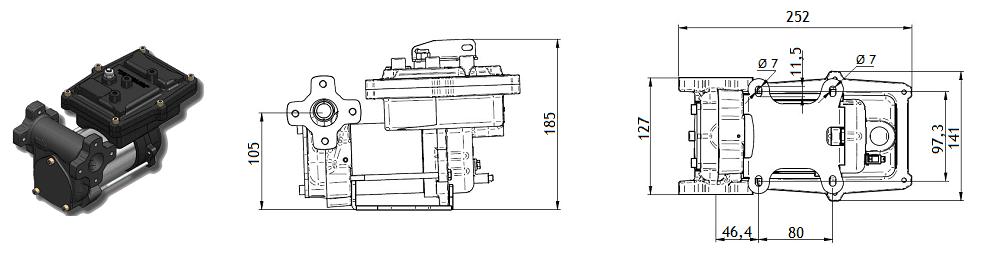 Габаритный чертеж насоса Piusi Kit Drum EX50 12V DC
