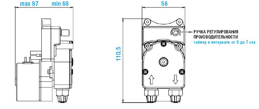 Габаритный чертеж насоса Etatron F-T PER 0501