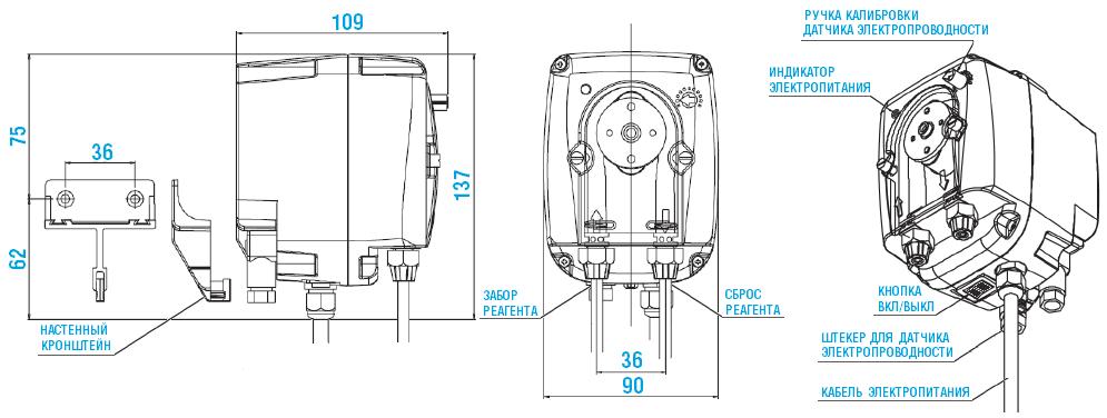 Габаритный чертеж насоса Etatron B-FCD PER 0103