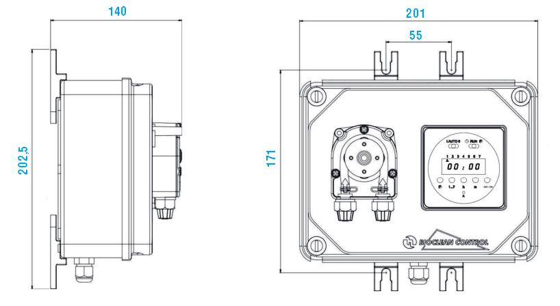 Габаритный чертеж насоса Etatron BioClean Control PER 1101 12V DC