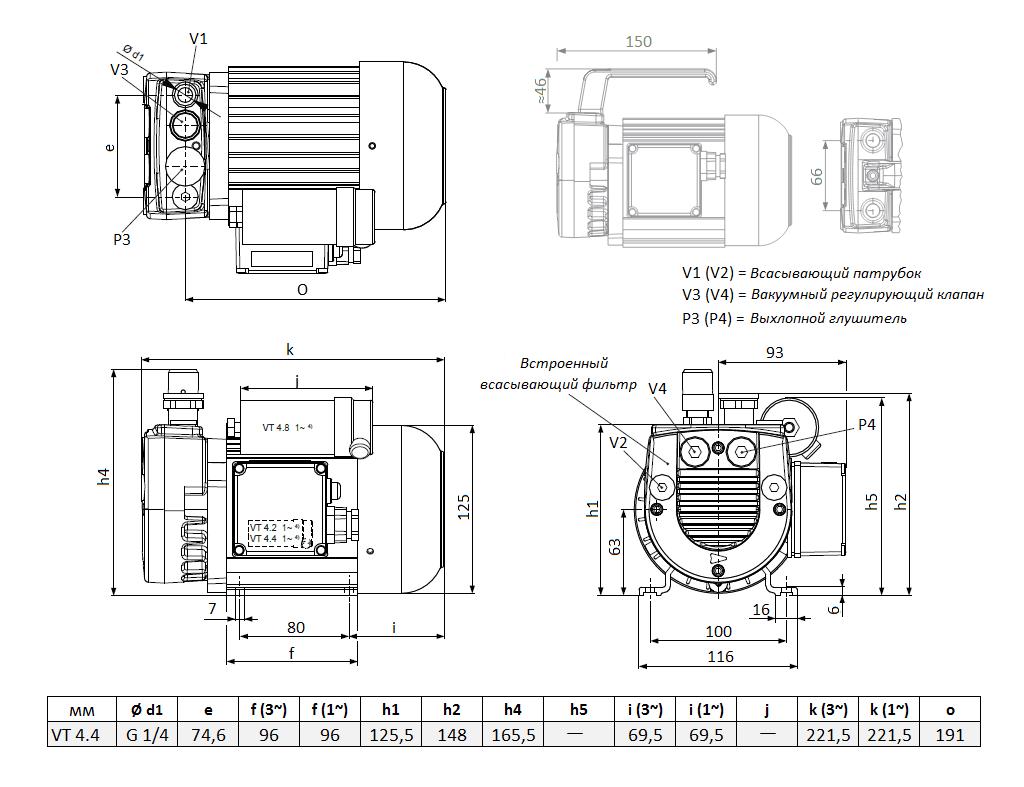 Габаритный чертеж насоса Becker VT 4.4_220