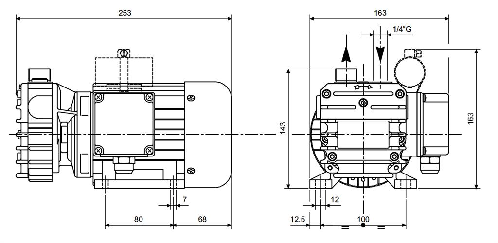 Габаритный чертеж безмасляного вакуумного насоса Pneumofore UVD6