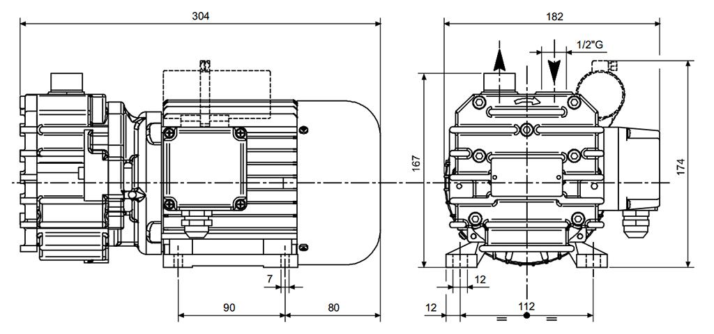 Габаритный чертеж безмасляного вакуумного насоса Pneumofore UVD10