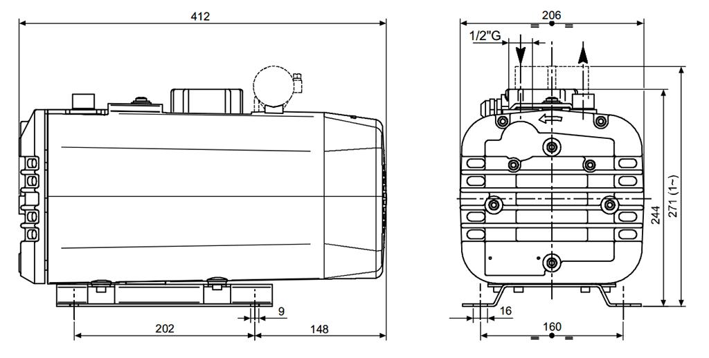 Габаритный чертеж безмасляного вакуумного насоса Pneumofore UVD16