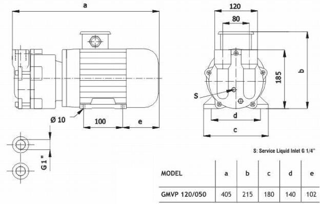 Габаритный чертеж насоса Ангара GMVP 120/050