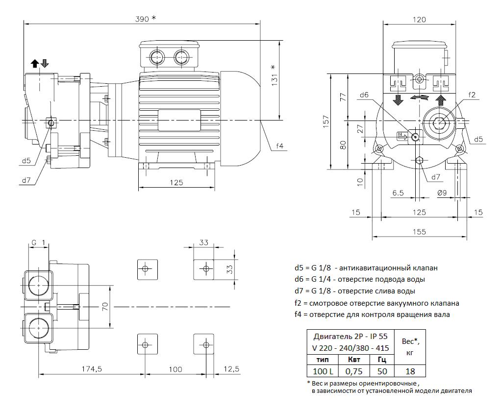Габаритный чертеж вакуумного насоса Pompetravaini TRMB 25-30 GH