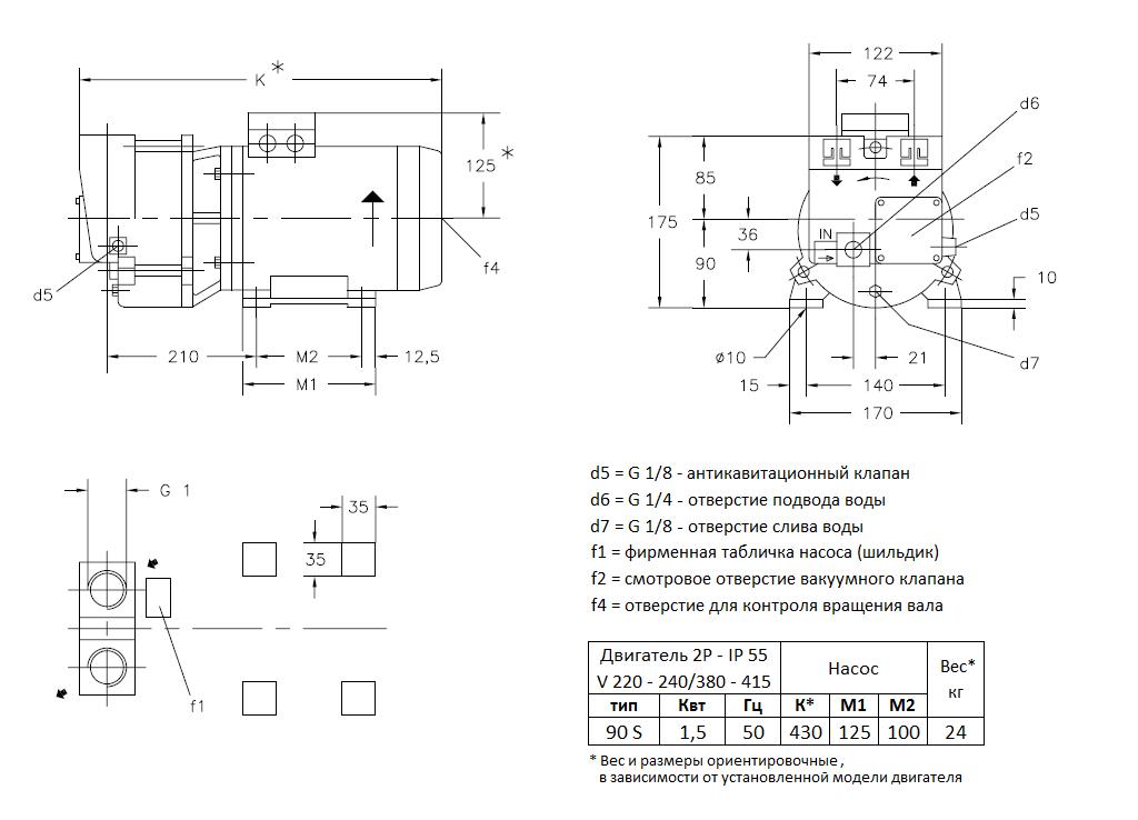 Габаритный чертеж вакуумного насоса Pompetravaini TRMB 32-50 GH