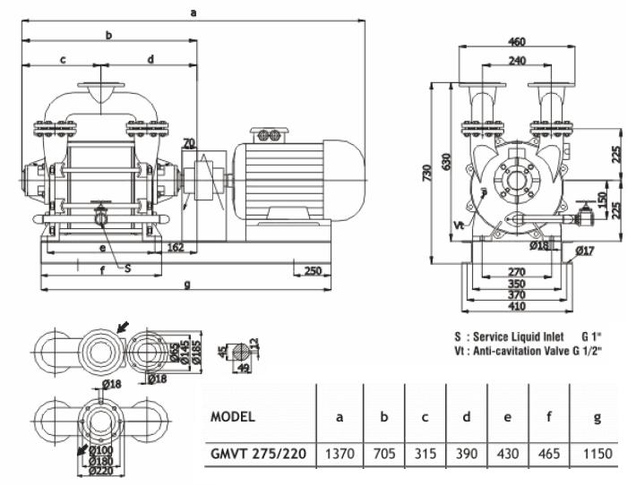 Габаритный чертеж насоса Ангара GMVT 275/220