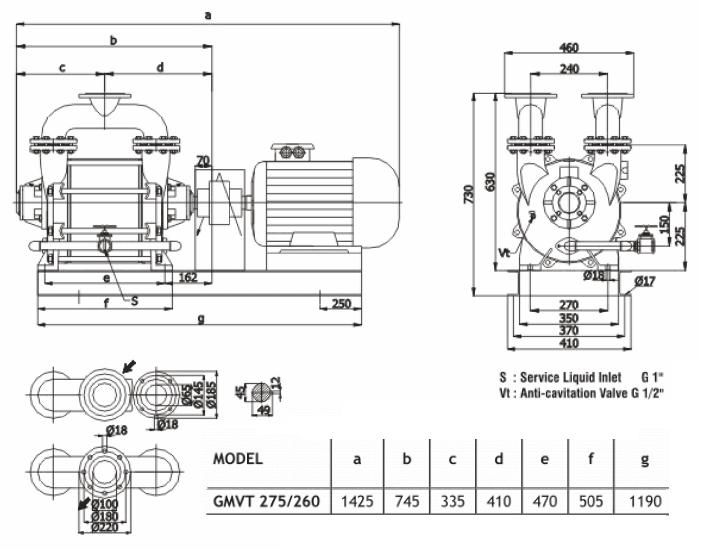 Габаритный чертеж насоса Ангара GMVT 275/260